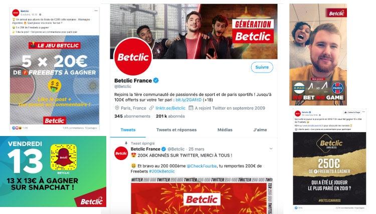 betclic freebets reseaux socieaux