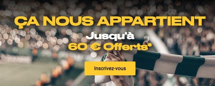 screenshot 60€ offerts Bwin
