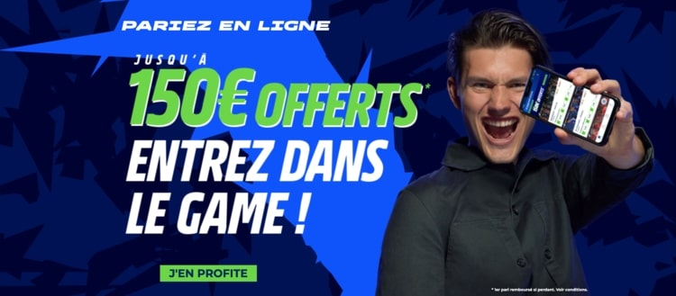 screenshot bonus bienvenue 150€ offerts parionssport