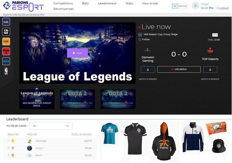 Parions esport site web
