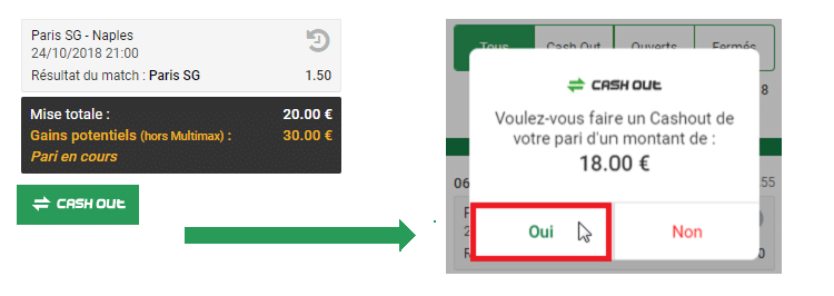 Cash out en 2 étapes Unibet