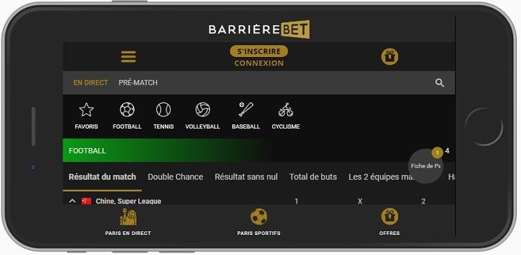 Web app BarrièreBet