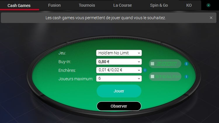 cash game pokerstars