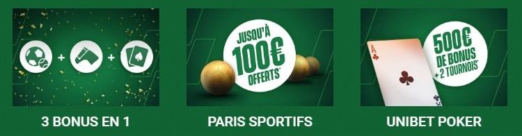 Bonus Unibet poker et sport