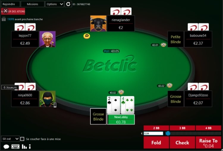 Aperçu de l'interface Betclic Poker