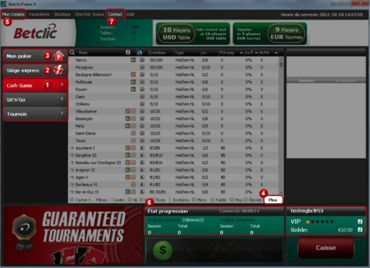 Aperçu de la plateforme Betclic Poker