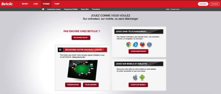 Téléchargement logiciel Betclic Poker