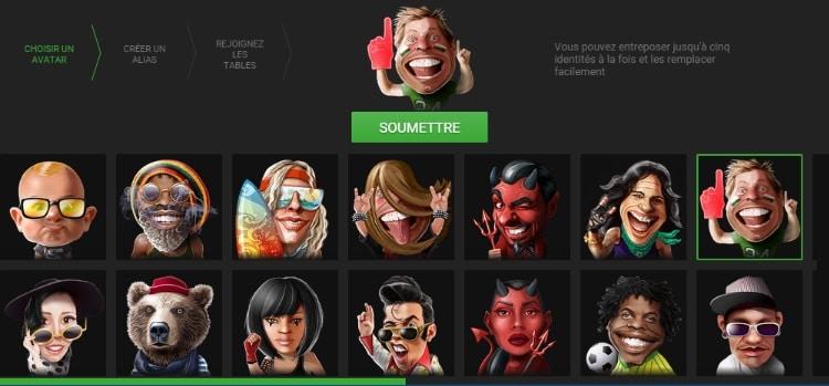 Choix de l'avatar Unibet Poker