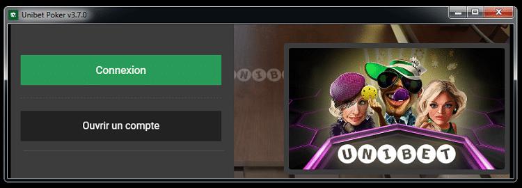 Lancement du logiciel Poker Unibet